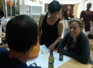 Carving jack-o-lanterns with our visitors, Amanda McFarlane and Alex Wong