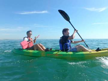 Kayaking with our visitor, Daniel Zivkovic
