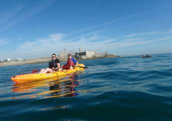 Kayaking with our visitor, Jonna Kulmuni