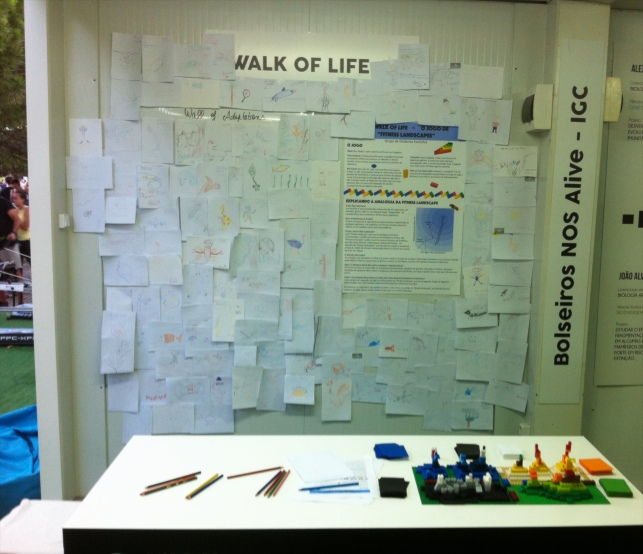 """Our fitness landscapes board game called """"Walk of Life"""" at the Nos Alive festival 2016"""