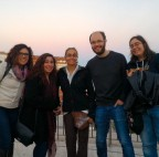 Sunset in Lisbon with our visitor, Pamela Cote-Hammarlof