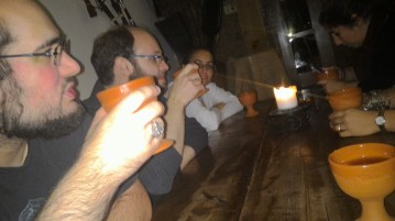 Drinking mead at the medieval bar in Lisbon